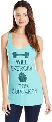 Chin-Up Chin Up Junior's White Heather Will Exercise For Cupcakes Racerback Tank Top