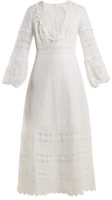 Com Zimmermann Castile Lace Trimmed Cotton Dress Womens Ivory