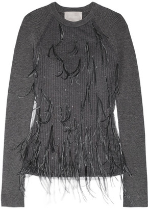 Jason Wu - Feather-embellished Tulle And Ribbed Wool-blend Sweater - Dark gray $1,395 thestylecure.com