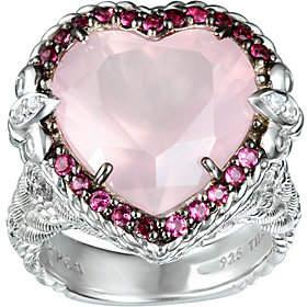 Judith Ripka Sterling Pink Tourmaline & Rose Quartz Heart Ring