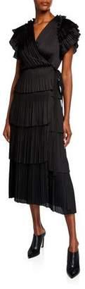 Diane von Furstenberg Sasha Pleated Ruffle Short-Sleeve Wrap Dress