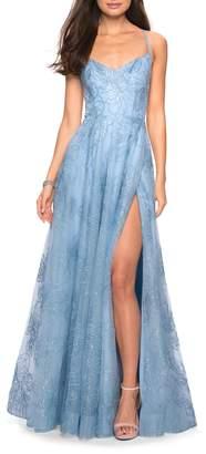 La Femme Metallic Floral Embellished Evening Dress