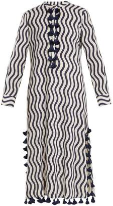Figue Paoline wave-print tassel cotton kaftan