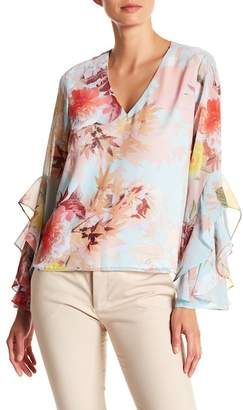 Vince Camuto Faded Bloom Ruffle Sleeve Blouse