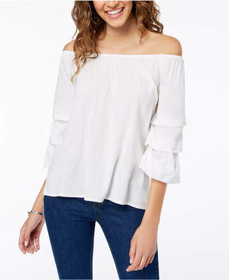 Almost Famous Crave Fame by Juniors' Off-The-Shoulder Tiered Top