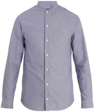 Giorgio Armani Grandad-collar checked cotton shirt