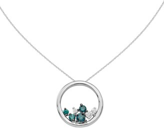 Affinity Diamond Jewelry Blue & White Diamond Slide Pendant, 14K, 1/4 cttw, by Affinit