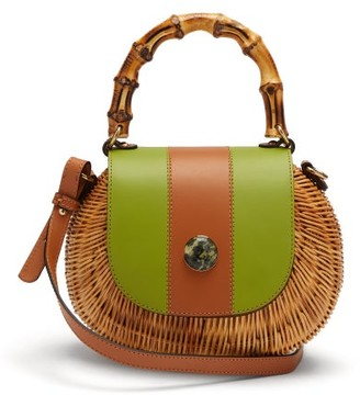 Wai Wai - Marina Wicker Cross Body Bag - Womens - Green Multi