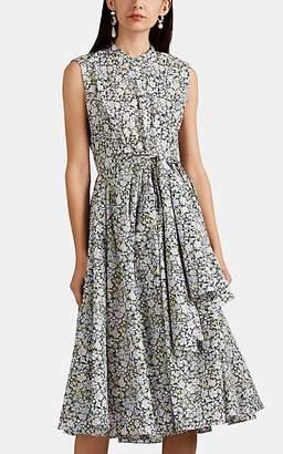Zac Posen Women's Floral Cotton Poplin Tie-Waist Shirtdress - White Pat.