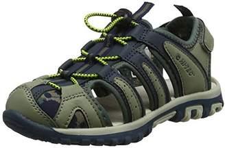 Hi-Tec Unisex Kids' Cove Ch Hiking Sandals, Green Oak/Dark Slate/Laurel Wreath, 29 EU