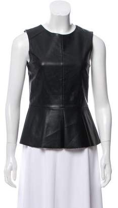 Co Sleeveless Faux Leather Top