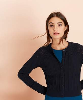 Brooks Brothers Cotton Cable-Pointelle Cropped Cardigan