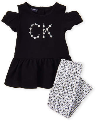 45af9aa22e0 Calvin Klein Jeans Toddler Girls) Two-Piece Cold Shoulder Dress & Floral Leggings  Set