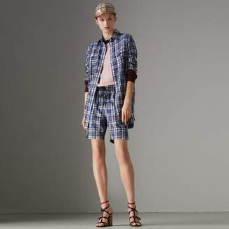 Burberry Scribble Check Silk Shirt , Size: 08