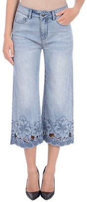 Laurèl LOLA JEANS High-Rise Embroidered Cotton Culotte