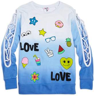 Flowers by Zoe Girls' Ombre Love Sweatshirt with Lattice-Cutout Sleeves
