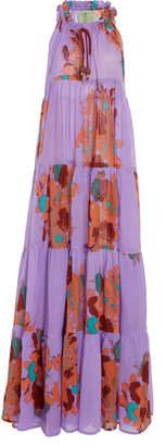 Yvonne S Floral-Print Cotton Voile Sleeveless Maxi Dress