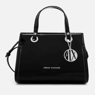 Armani Exchange Women's Patent Logo Small Tote Bag - Black
