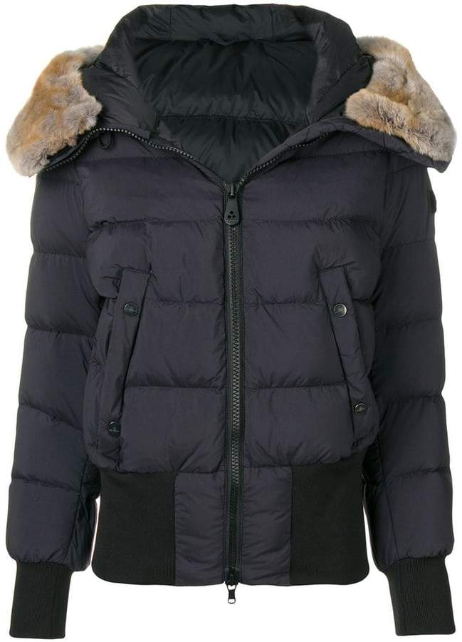 fur trimmed puffer jacket