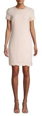 Karl Lagerfeld Paris Faux Pearl Neck Shift Dress