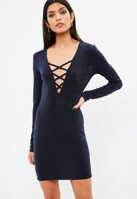 Missguided Navy Slinky Lace Up Neck Dress, Blue