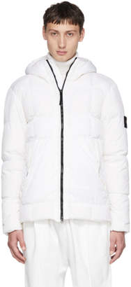 Stone Island White Down Hooded Jacket