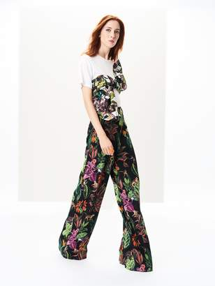 Oscar de la Renta Jungle Stretch-Silk Georgette Wide-Leg Pants