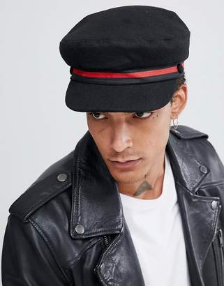 Asos Design DESIGN mariner cap in black melton with stripe band