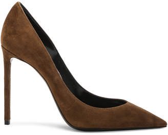 Saint Laurent Suede Zoe Pumps in Caramel | FWRD
