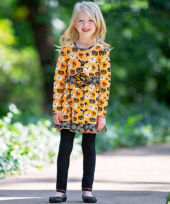 Halloween Jack-O'-Lantern Dress and Leggings - Girls