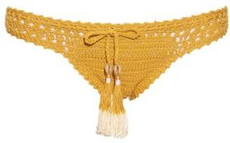 She Made Me Hira Hipster Crochet Bikini Briefs - Womens - Dark Yellow