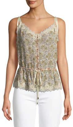 Paige Louisa V-Neck Floral-Print Blouse with Crochet Trim