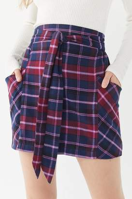 Urban Outfitters Cameron Flannel Tie-Front Mini Skirt