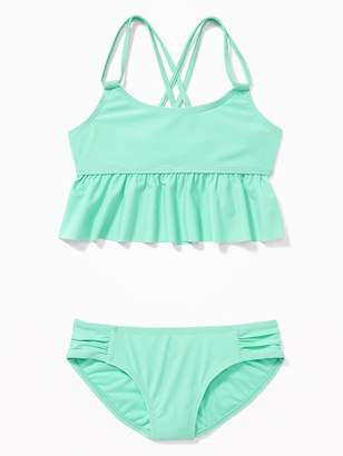 Old Navy Double-Strap Peplum Tankini for Girls