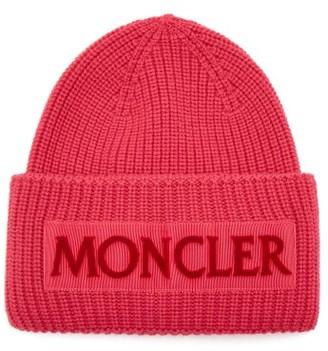 Moncler Velvet Logo Wool Beanie Hat - Womens - Pink