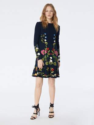 Oscar de la Renta Botanical Embroidered Stretch-Wool Crepe Dress