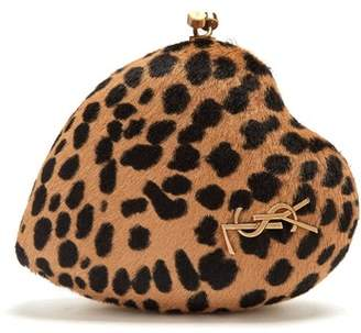 Saint Laurent - Love Box Leopard Print Calf Hair Clutch - Womens - Leopard