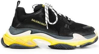 Balenciaga black and yellow triple s sneakers