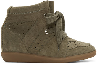 Isabel Marant Green Bobby Wedge Sneakers $655 thestylecure.com