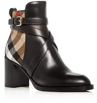 Burberry Women's Vaughan Vintage Check & Leather Block Heel Booties