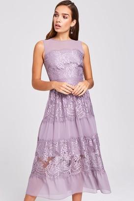 Little Mistress Paige Lavender Lace Midi Dress