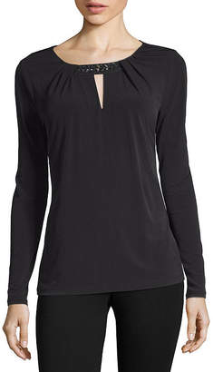 Liz Claiborne Long Sleeve Beaded Keyhole Blouse