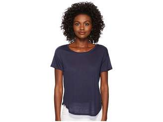 Three Dots Tencel Short Sleeve Shirttail Hem Tee Women's Clothing