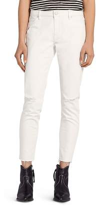 AllSaints Lola Distressed Cropped Skinny Jeans in Chalk White