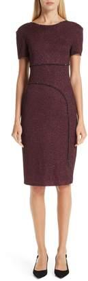 St. John Mod Metallic Knit Sheath Dress