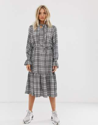 Just Female Noele tiered check maxi dress