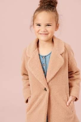 Next Girls Camel Borg Coat (3-16yrs) - Brown
