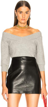 Alexander Wang Cropped V Neck Sweater in Heather Grey | FWRD