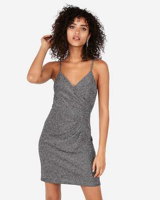 Express Petite Metallic Surplice Pleated Mini Cami Sheath Dress