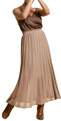 Marina Rinaldi Plus Size Pleated Metallic Long Skirt